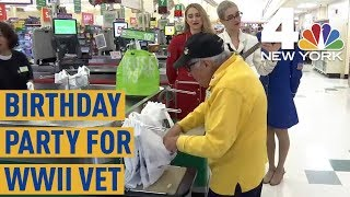 WWII Vet Gets Surprise 98th Birthday Party From His Grocery Store | NBC New York