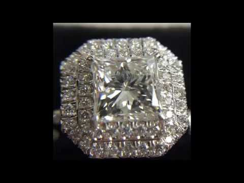 Princess Cut Diamond Engagement Ring in Double Halo