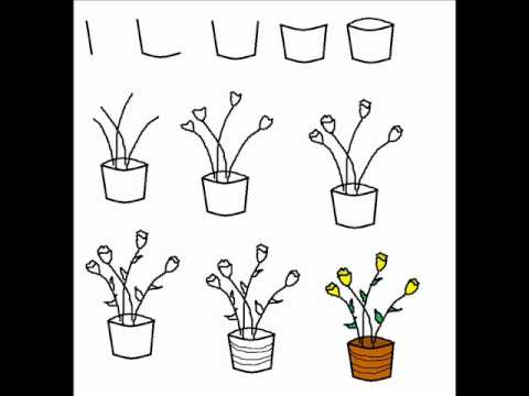 How To Draw A Flower Pot With Tulips Step By Step Drawing