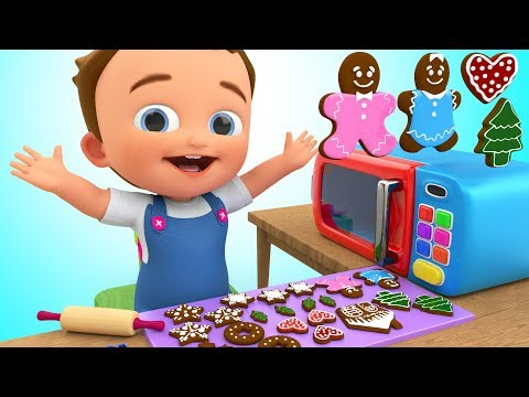 Learn Colors for Children with Baby Preparing Bread Cookies Microwave Oven Kitchen Toys 3D Kids Edu