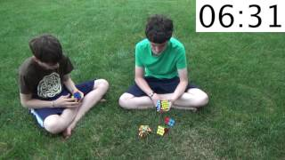 2x2 5x5 rubik s cube relay one handed