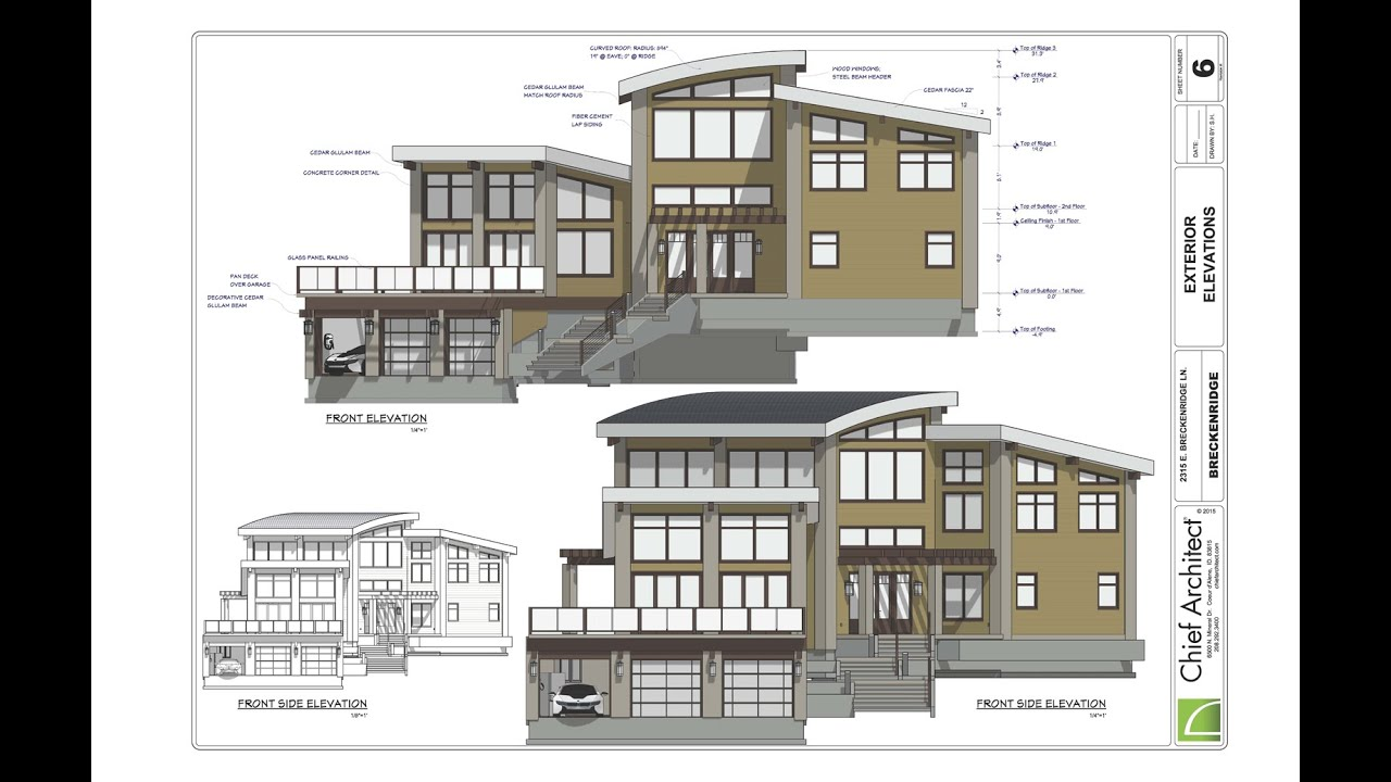 Chief Architect Plans 5 Exterior Elevations Amp Details Breckenridge Home Design