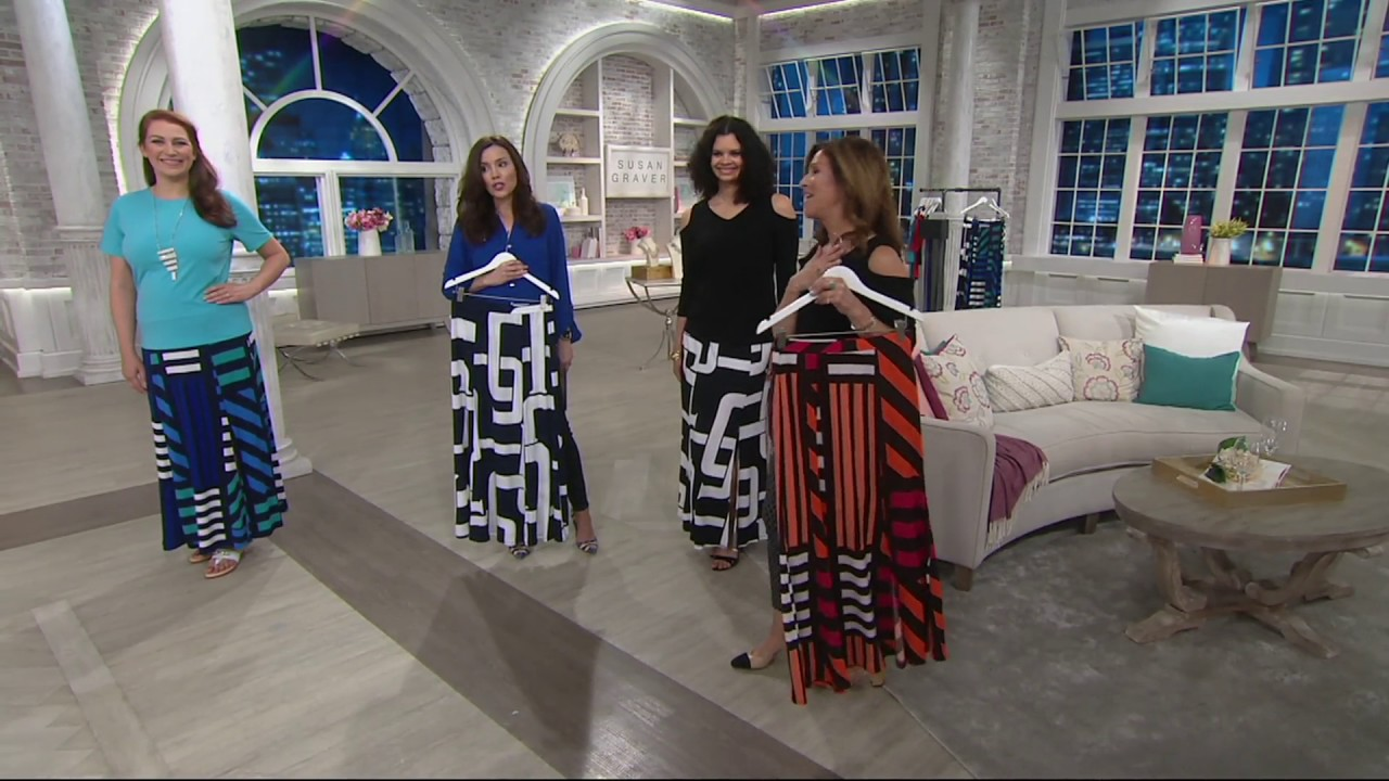 8e6b0ff9b Susan Graver Printed Liquid Knit Six Gore Maxi Skirt with Slit on QVC
