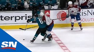 Nathan MacKinnon Leaves Game After Dangerous Hit To The Head By Sharks' Joachim Blichfeld Thumb