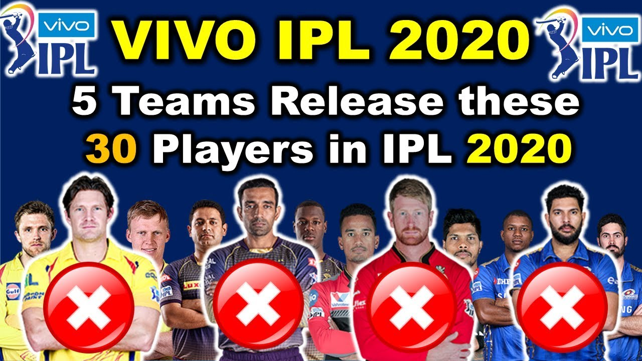 Ipl 2020 Schedule.Ipl 2020 5 Teams Release These 30 Players In Ipl 2020 Csk Kkr Srh Rcb Mi Release Players