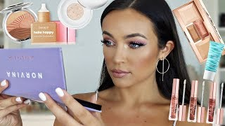 TRYING NEW HYPED UP MAKEUP! NORVINA PALETTE, BENEFIT FOUNDATION, BECCA, ETC! | Stephanie Ledda