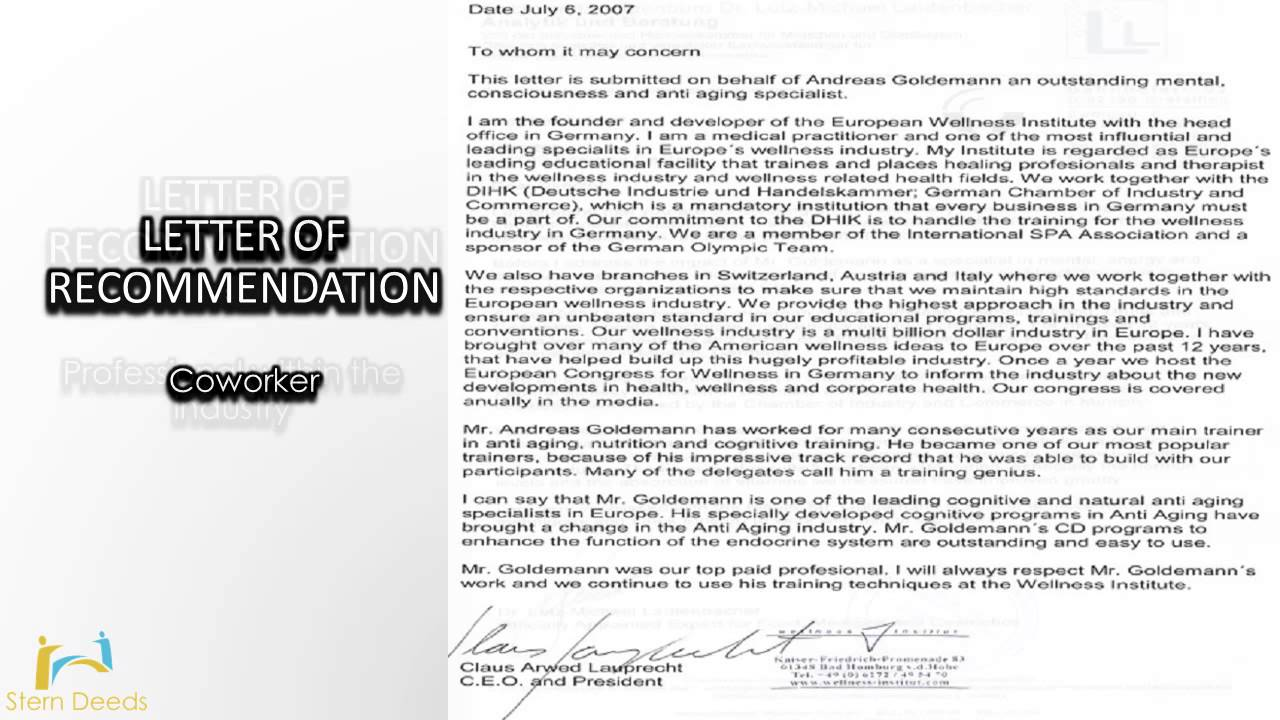 green card recommendation letter template