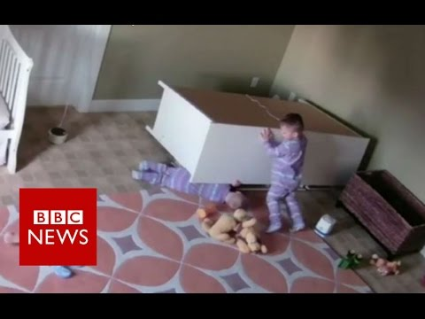 Boy 2 Saves Twin From Falling Furniture