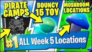 GET 15 BOUNCES IN A SINGLE THROW WITH THE BOUNCY BALL TOY, PIRATE CAMPS (Fortnite Season 8 Week 5)