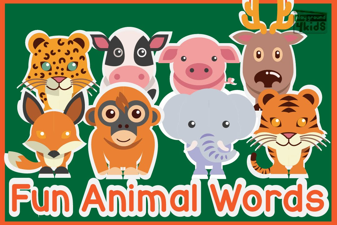 Learning Animal Vocabulary Words for Toddler | Cute & Fun Animal Videos for Kids | Playground4ki