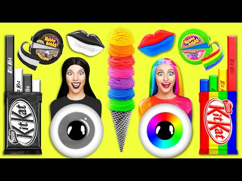 Rainbow vs Black and White Challenge for 24 Hours!  