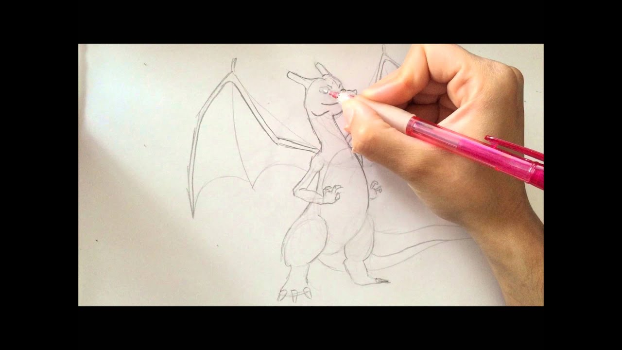 Comment Dessiner Le Pokemon Dracaufeu Avec Christin Art Youtube