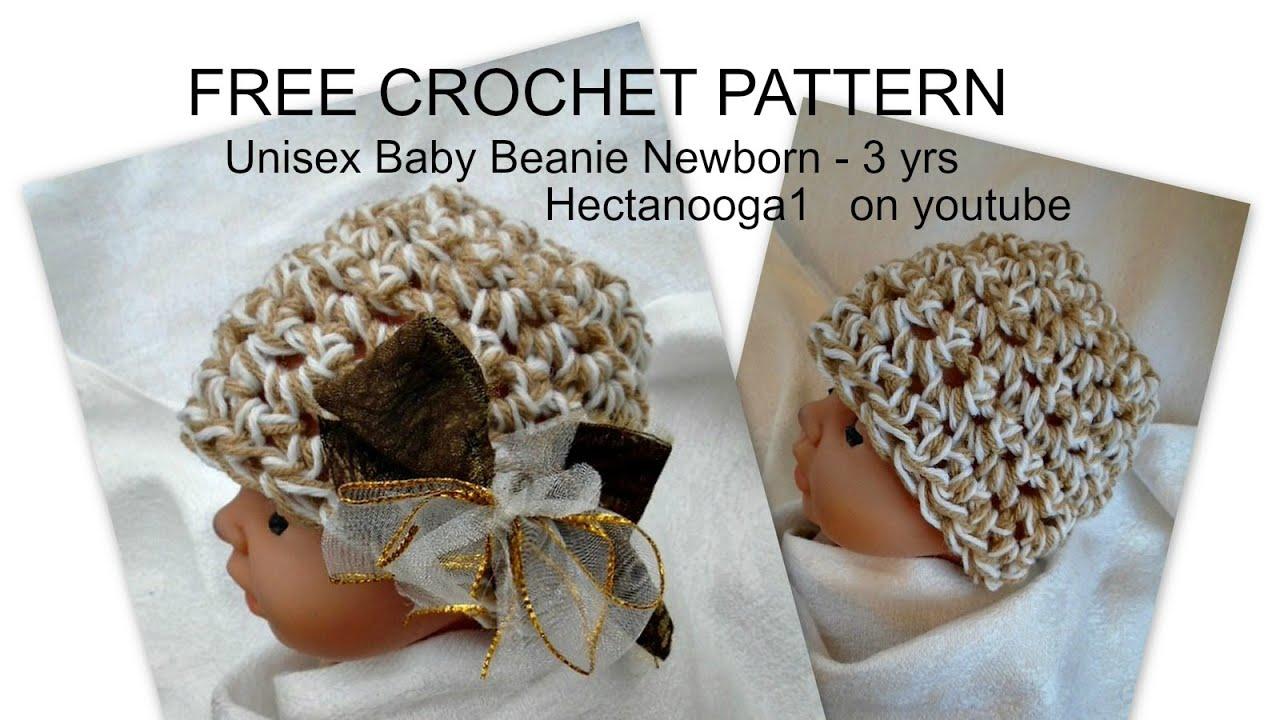 Free Crochet Pattern Unisex Crochet Tan Baby Beanie Newborn To 3