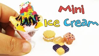 HOW TO MAKE MINIATURE ICE CREAM SUNDAE DIY sculpey clay craft