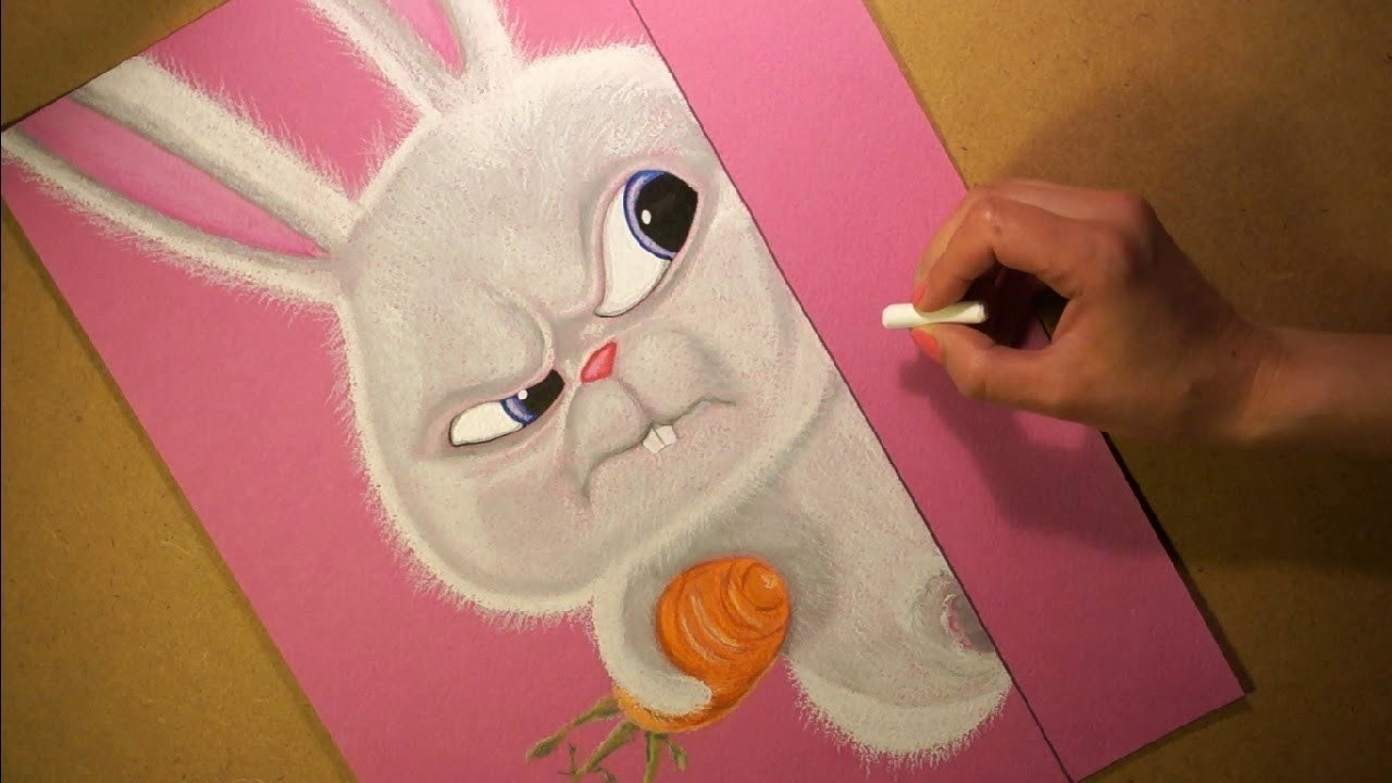 drawing snowball rabbit from the secret life of pets