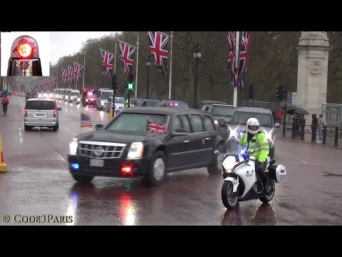 Secret Service In Action W/ Special Escort Group: President Obama Motorcade In London