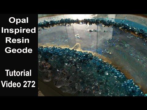 Resin Geode Art/ Full Tutorial/ OPAL looking