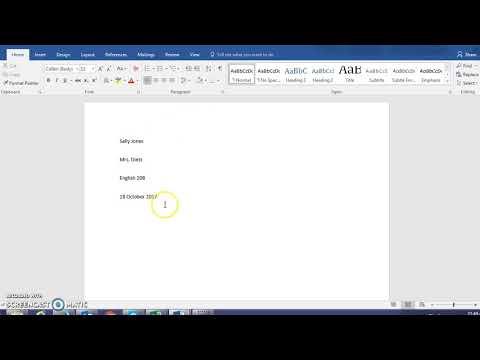 Basic MLA Format: Heading, Title, Spacing