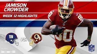 Jamison Crowder's Huge Game w/ 7 Catches, 141 Yds & 1 TD | Giants vs. Redskins | Wk 12 Player HLs