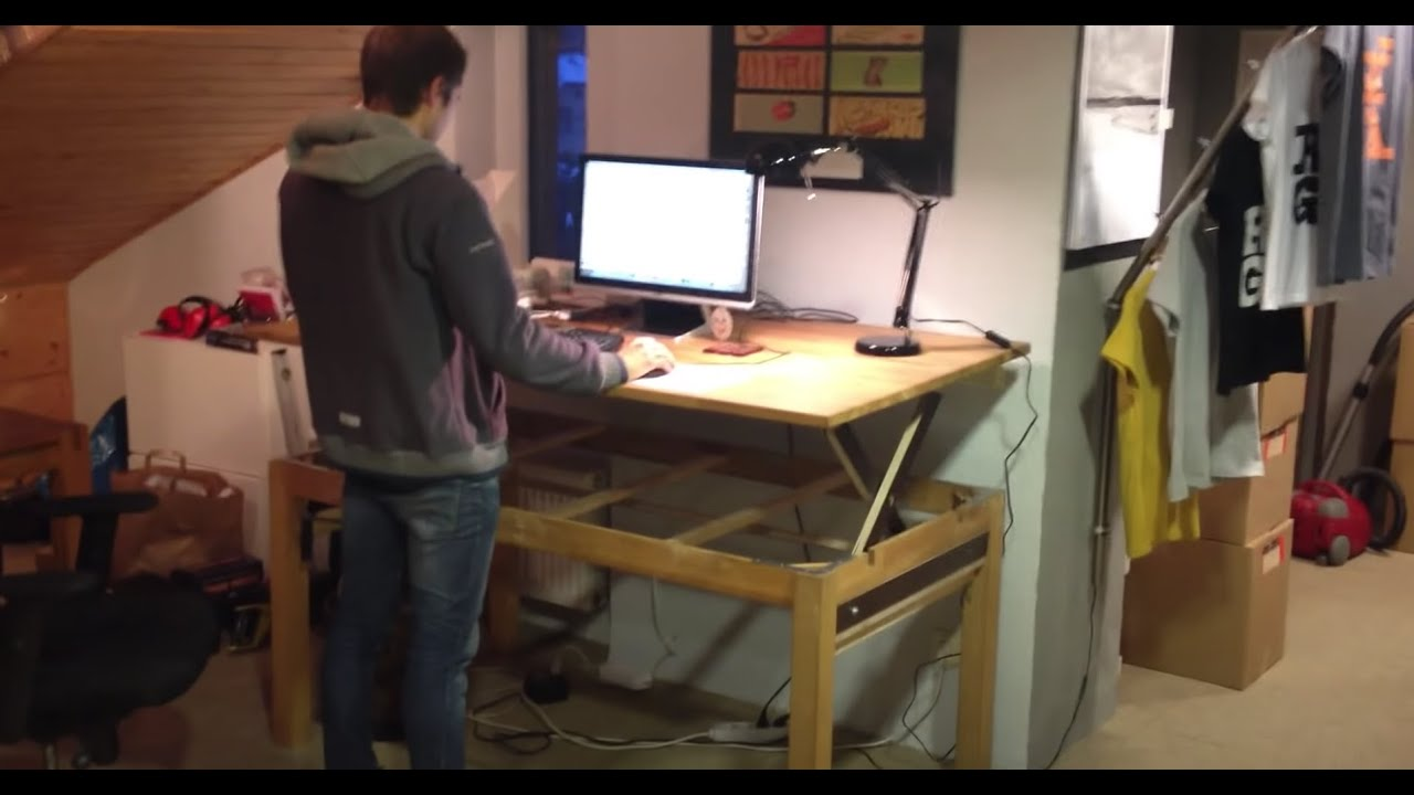 Demo 1  DIY  Liftable  Standup  Rising  Desk  Table