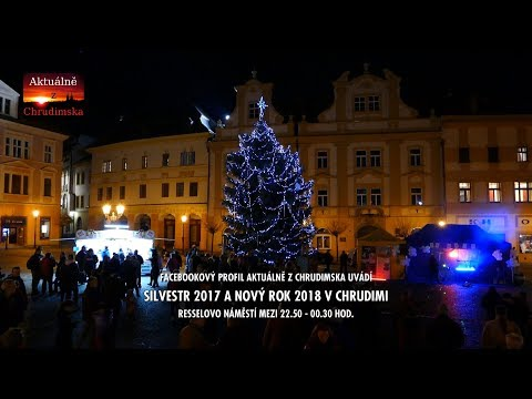 SILVESTR 2017 A NOVÝ ROK 2018 - Chrudim Resselovo náměstí - ohňostroj účastníků
