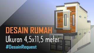 Desain Rumah 4 5x11 5 Meter 2 Lantai 3 Kamar Carport Youtube
