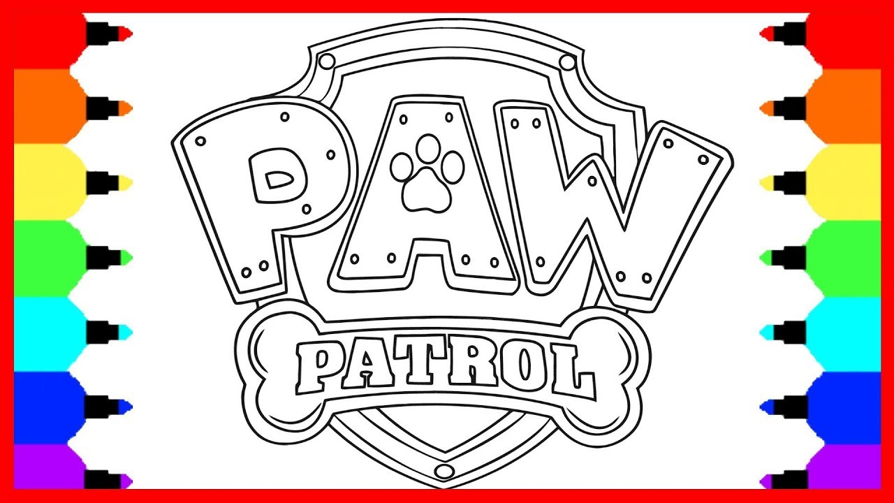how to draw paw patrol logo drawings and coloring book