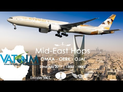 PMDG 777-300ER on Vatsim - Etihad from Abu Dhabi to Riyadh