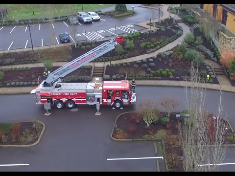 Trash compactor fire at The Allison Inn & Spa Drone Quadcopter UAV Phantom 3 Standard