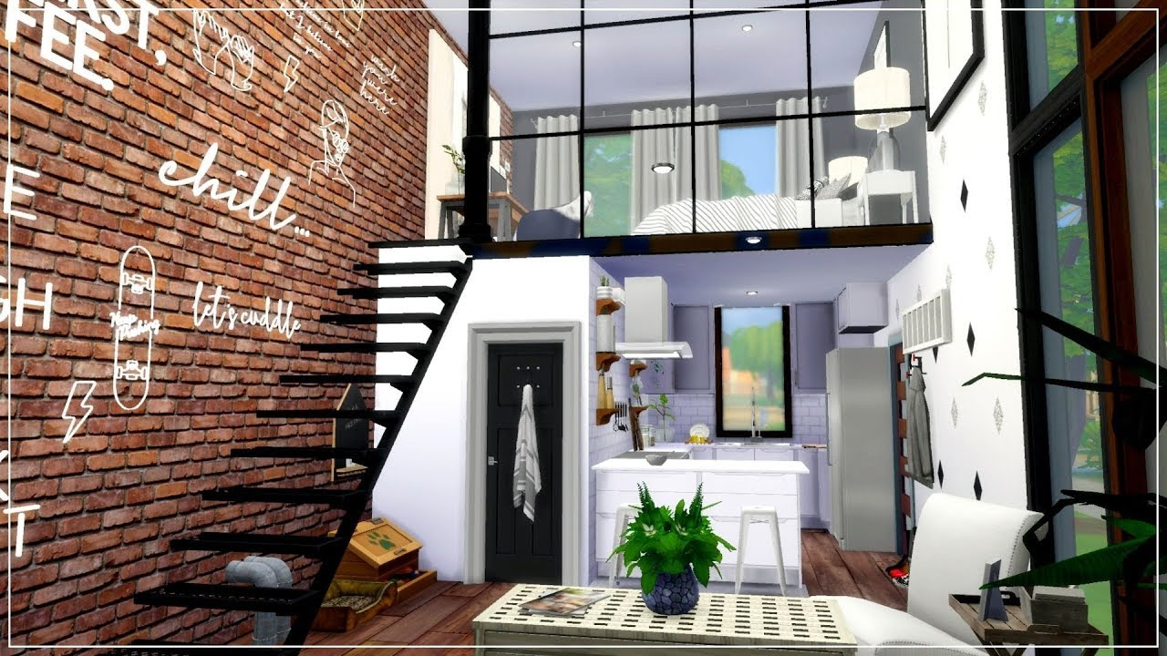 The Sims 4 Lofted Shipping Crate Tiny House Speed