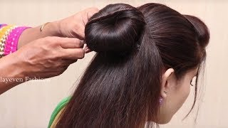 Trendy Hairstyles for party/Wedding | Hairstyles | juda | Simple Hairstyle | donut Bun hairstyles