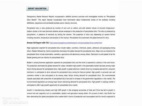 Precipitated Silica Market - Market Research Report, 2014 - 2020