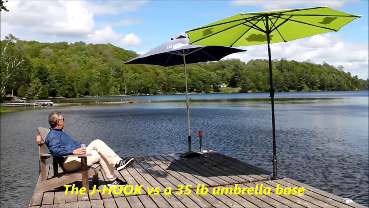 J Hook Portable Umbrella Base For Decks Docks Vs A 35 70 Lb