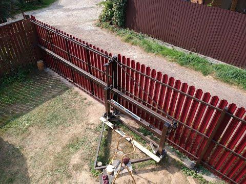Откатные ворота на средней балке своими руками видео