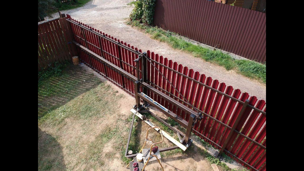 Откатные ворота со средней балкой. - YouTube