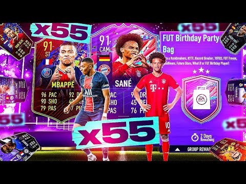 What do you get from 55 Guaranteed FUT Birthday Party Bags?