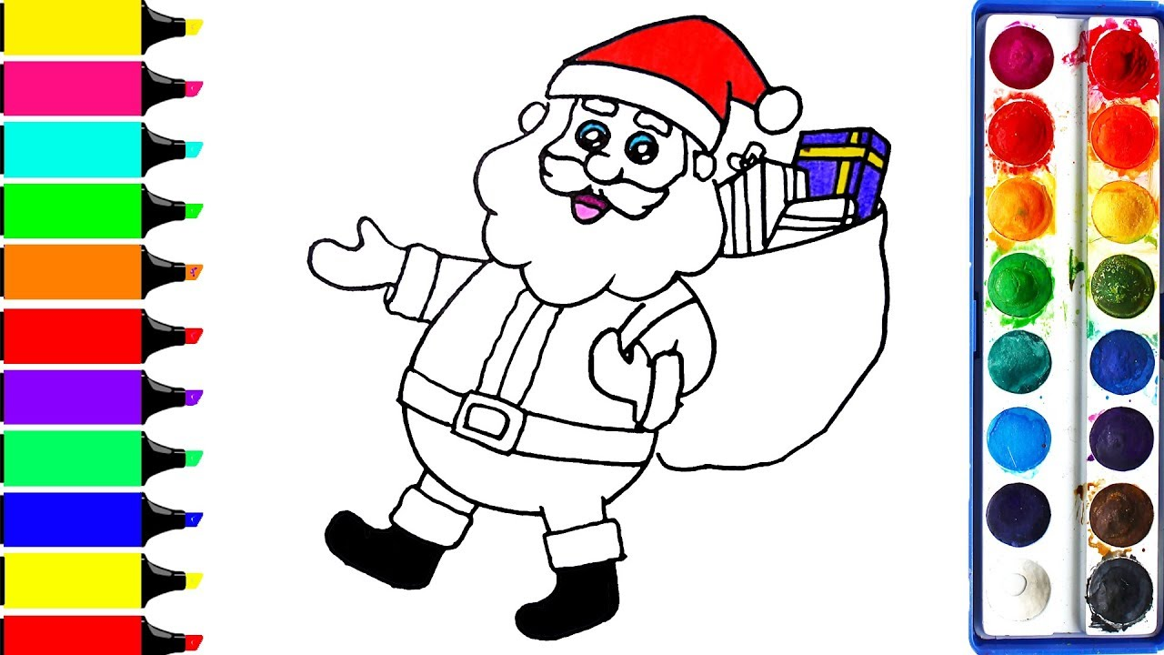 Santa Claus Coloring Pages | Art Colors For Kids | Draw Merry ...