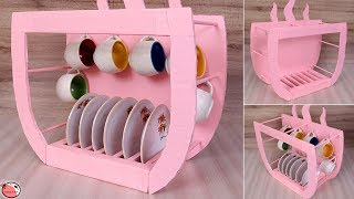 Cup Stand Making At Home !! DIY Kitchen Organization Ideas - DIY Ideas to Organize Cups and Saucer