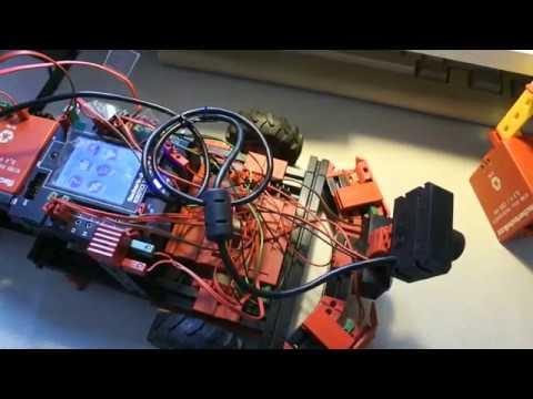 fischertechnik TXT controller :  Discovery #104 - Sensors, trajectory, floor, ROBOPro, sonar, Python