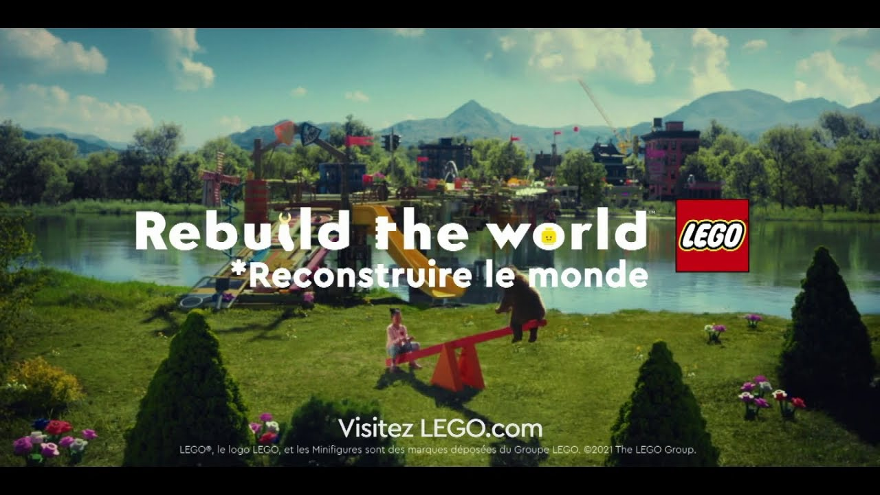 """Musique pub Lego – traversée du fleuve """"Rebuild the world""""  juillet 2021"""