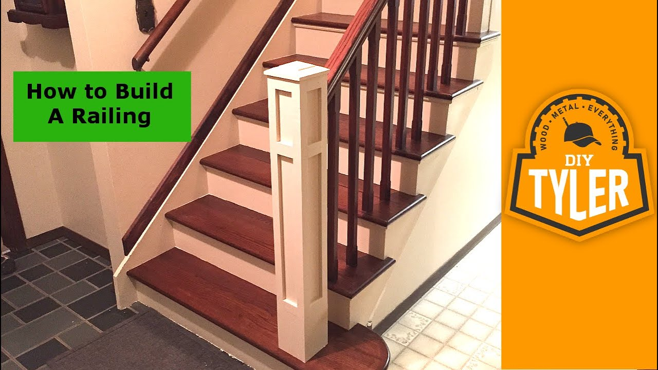 How To Build A Railing For A Staircase Youtube | Handrails For Steps Indoors | Staircase Around Lift Wall | Glass Panel Stainless Steel Handrail | Narrow Staircase Brushed Nickel | Width Hand | Minimalist
