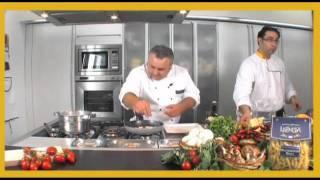 Pasta Leonessa: paccheri con pescatrice e pomodorini freschi