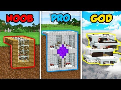 Minecraft NOOB Vs. PRO Vs. GOD : MOUNTAIN BASE CHALLENGE In Minecraft! (Animation)