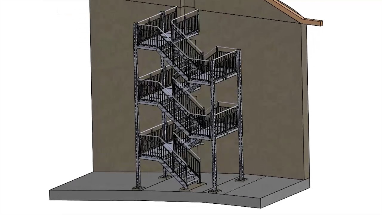 Escalier En Caillebotis Métallique dedans conception technique d'un escalier caillebotis trois étages - youtube