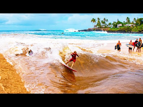 RIVER SURFING IN HAWAII (WAIMEA BAY)