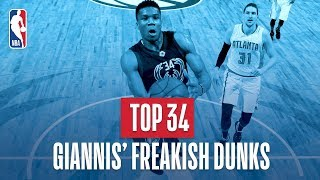 Giannis Antetokounmpo's Top 34 Freakish Dunks of His NBA Career Video