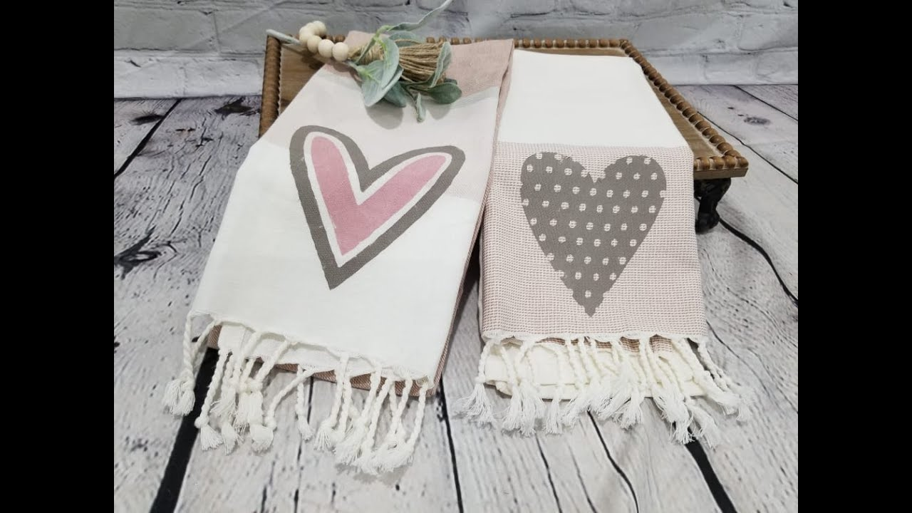 Heart Pattern Towels - Chalk Couture