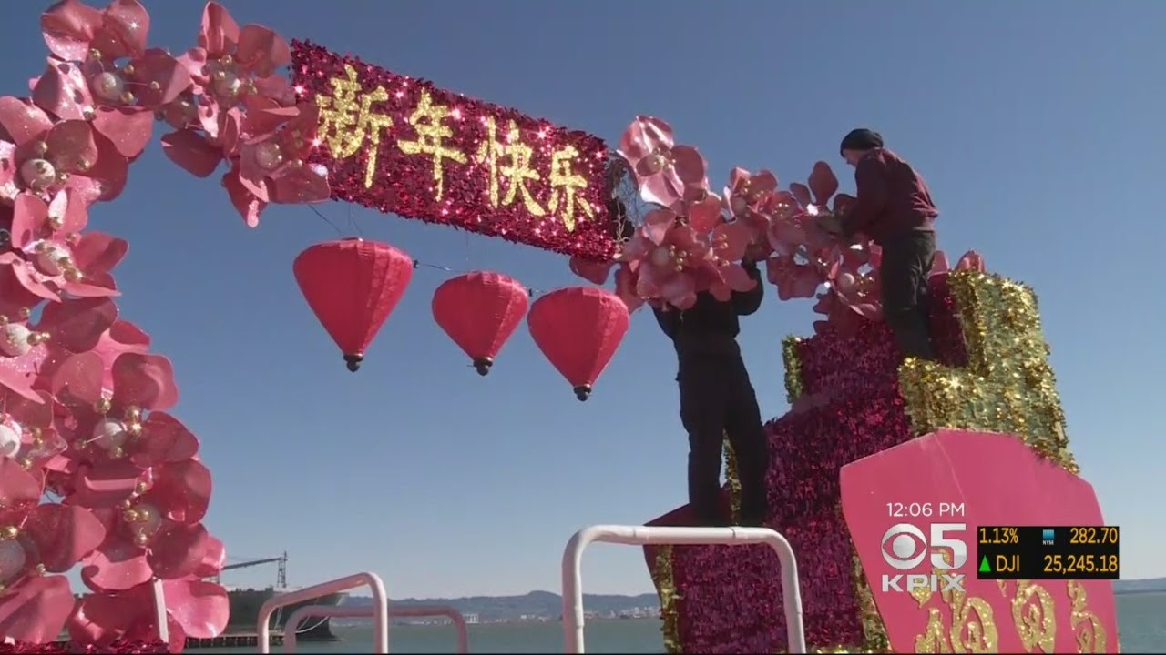Crews Put Finishing Touches On Floats For San Francisco's Chinese New Year Parade