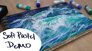 How To draw A Wave Using Pastels || Mungyo Gallery Soft Pastel Ocean Demo screenshot 4