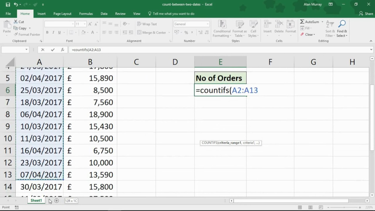 Count Values Between Two Dates   Excel COUNTIFS Function